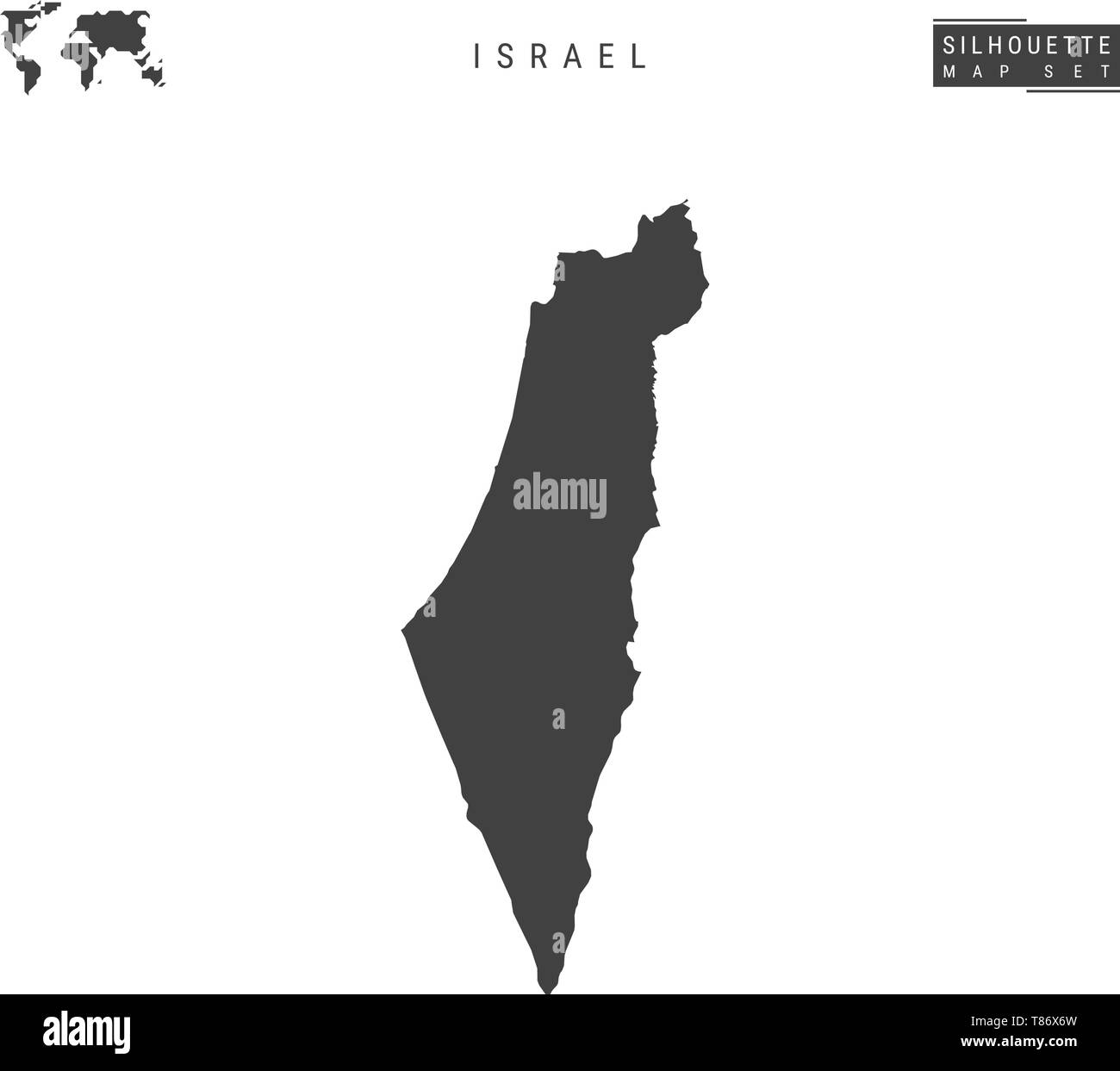 Israel Blank Vector Map Isolated on White Background. High-Detailed Black Silhouette Map of Israel. - Stock Vector