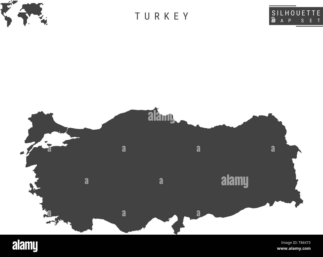 Turkey Blank Vector Map Isolated on White Background. High-Detailed Black Silhouette Map of Republic of Turkey. Stock Vector
