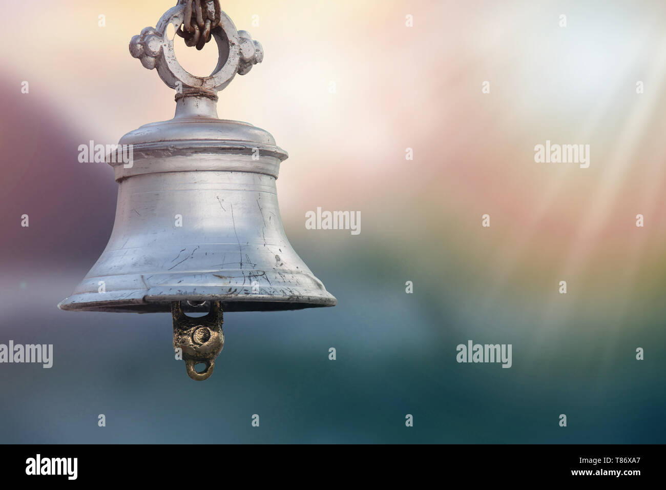close up of Temple Bell On Sunset Background. - Stock Image