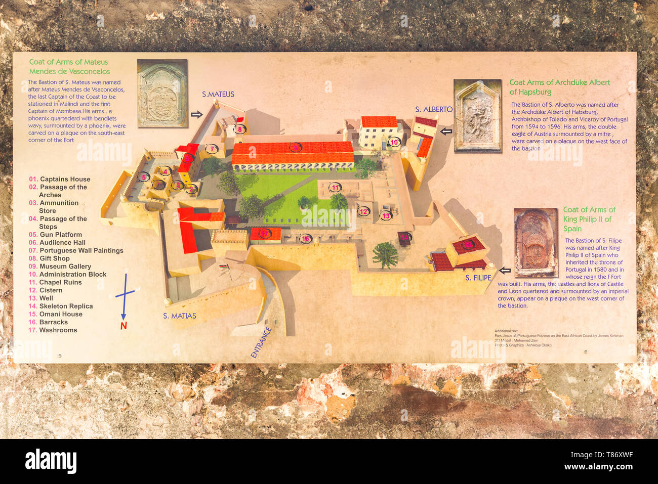 A map of Fort Jesus on a stone wall showing the main points of interest within the fort, Mombasa, Kenya - Stock Image