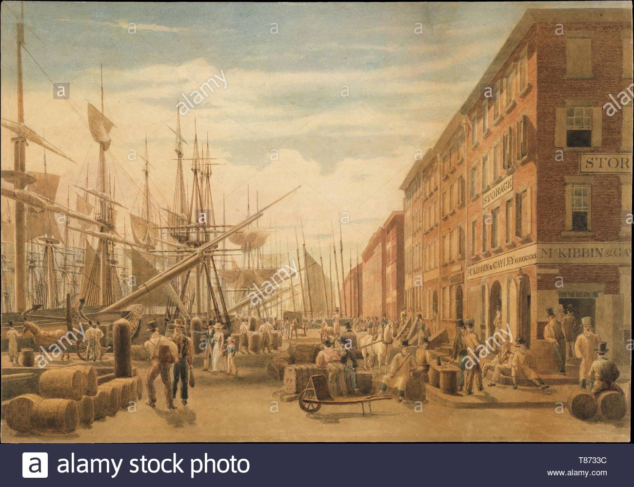 William James Bennett-View of South Street, from Maiden Lane, New York City - Stock Image