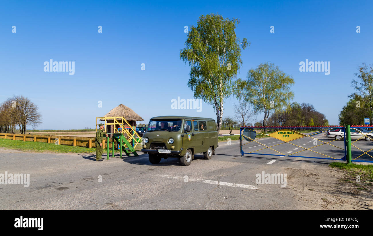 Chojniki, Belarus, - April 26, 2019: Entering the exclusion zone of Chernobyl accident area in Belarus contaminated with radioactive fallout in 1986. - Stock Image