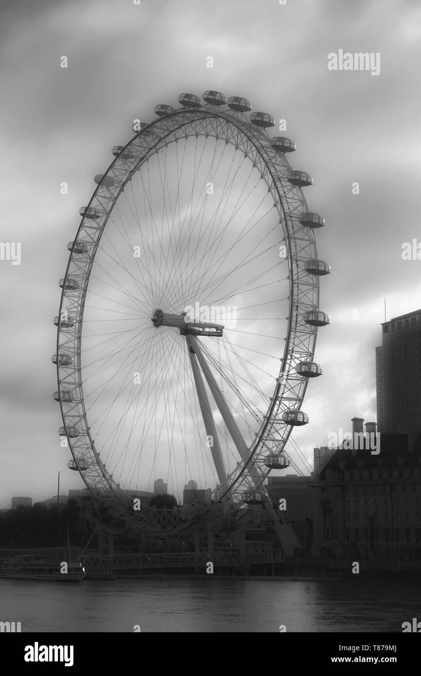 Millennium Wheel, River Thames, London, England, UK, Europe - Stock Image