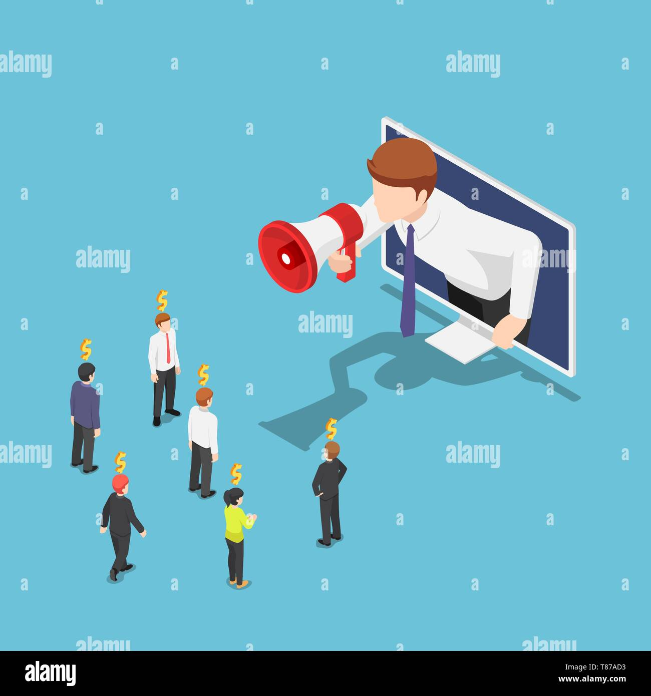 Flat 3d isometric businessman come out from monitor and shout on megaphone to refer a friend. Referral marketing and Digital business advertising. - Stock Image