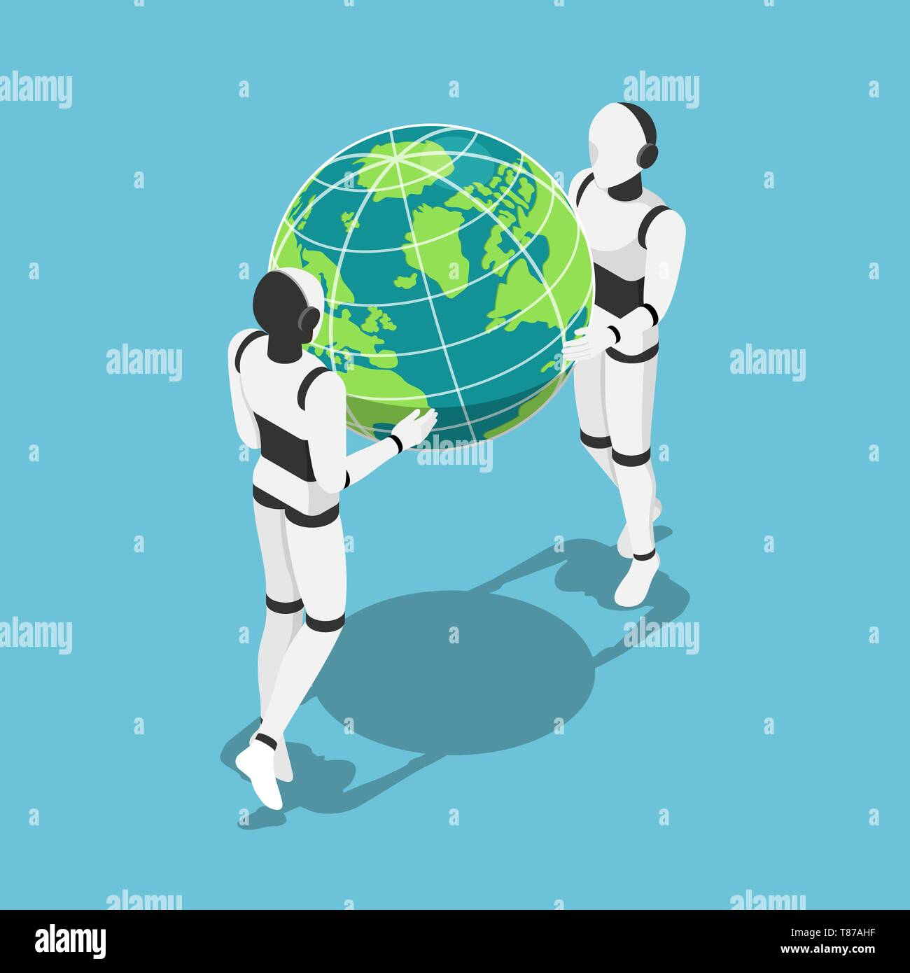 Flat 3d isometric Ai robot holding earth planet in hands. Artificial intelligence technology concept. Stock Vector