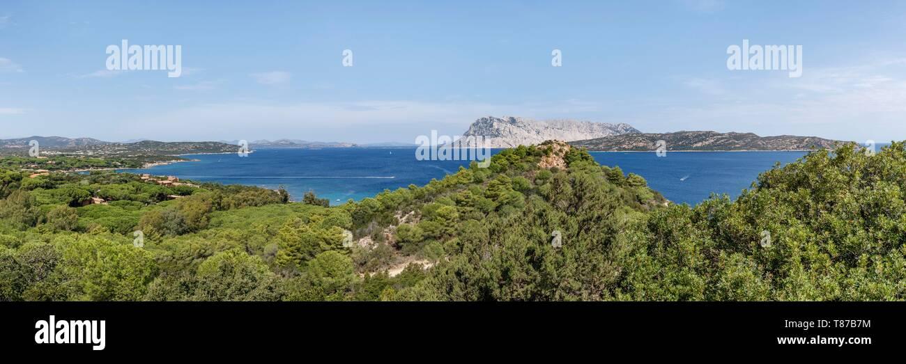 Italy, Sardinia, Olbia Tempio Province, San Teodoro, Coda Cavallo, Molara and Tavolara islands Stock Photo