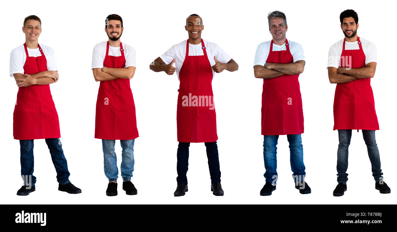 Group of 5 caucasian and african and latin american waiters on an isolated white background for cut out - Stock Image
