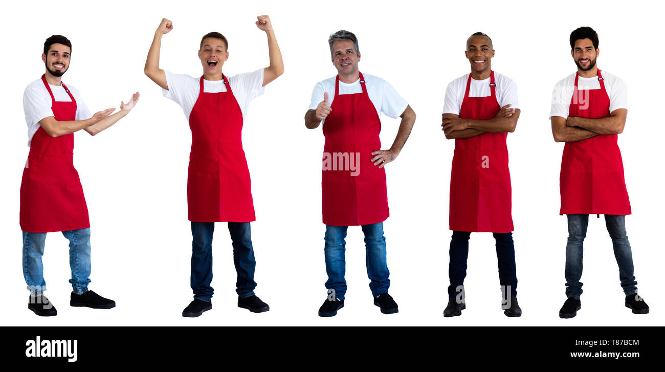 Group of 5 african and caucasian and latin american waiters on an isolated white background for cut out - Stock Image