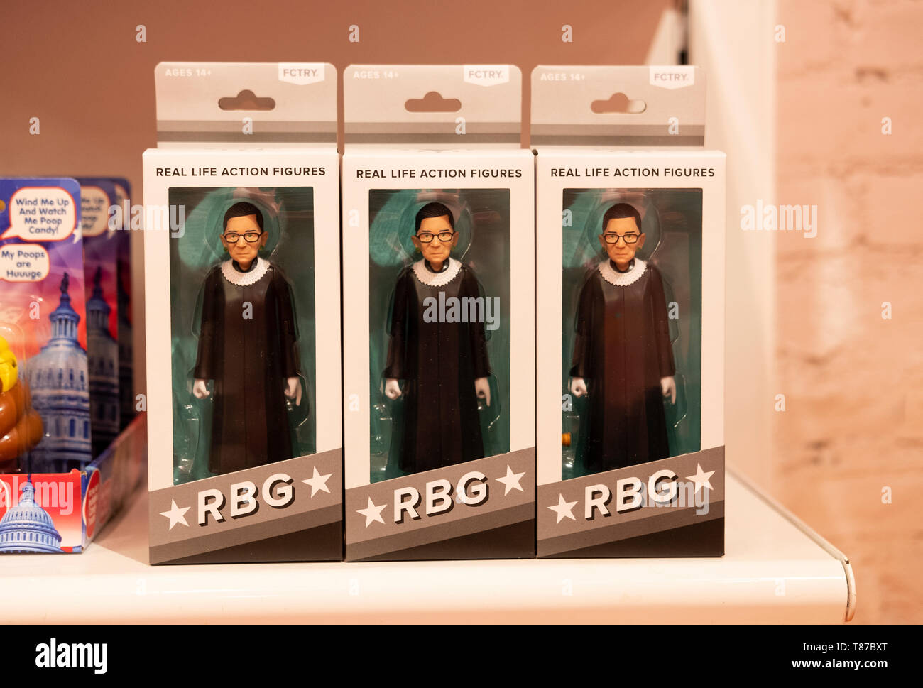 Ruth Bader Ginsburg action figures for sale at It'sugar, a candy by the pound chain store. In Greenwich Village, New York City. Stock Photo