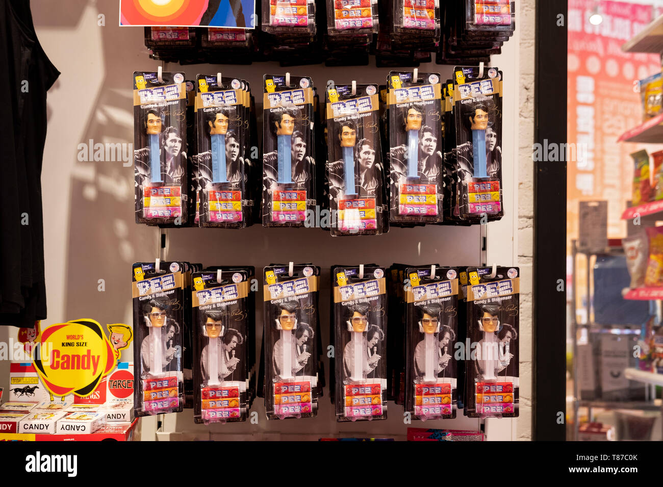 ELVIS PRESLEY Pez dispensers for sale at It'sugar, a candy by the pound chain store. In Greenwich Village, New York City. Stock Photo