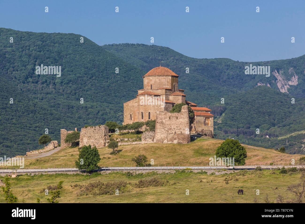 Georgia, Mtskheta, spiritual town where Christianity was established in 327AD, Jvari Church, morning - Stock Image