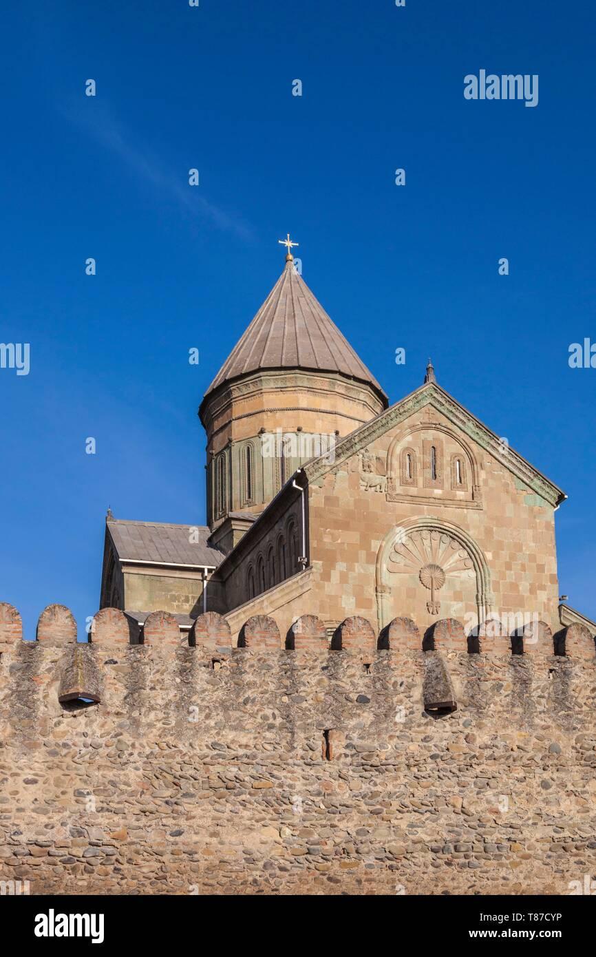 Georgia, Mtskheta, spiritual town where Christianity was established in 327AD, Svetitskhoveli Cathedral - Stock Image