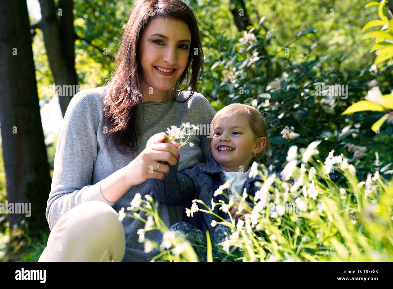 Mother with daughter sitting in spring meadow - Stock Image