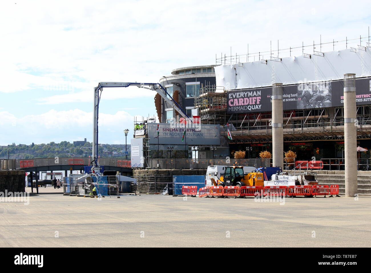 10 May 2019: Cardiff Bay, Cardiff UK:  Construction work in Mermaid Quay's Roald Dahl Plass, to construct Everyman Cinema and eateries. Stock Photo