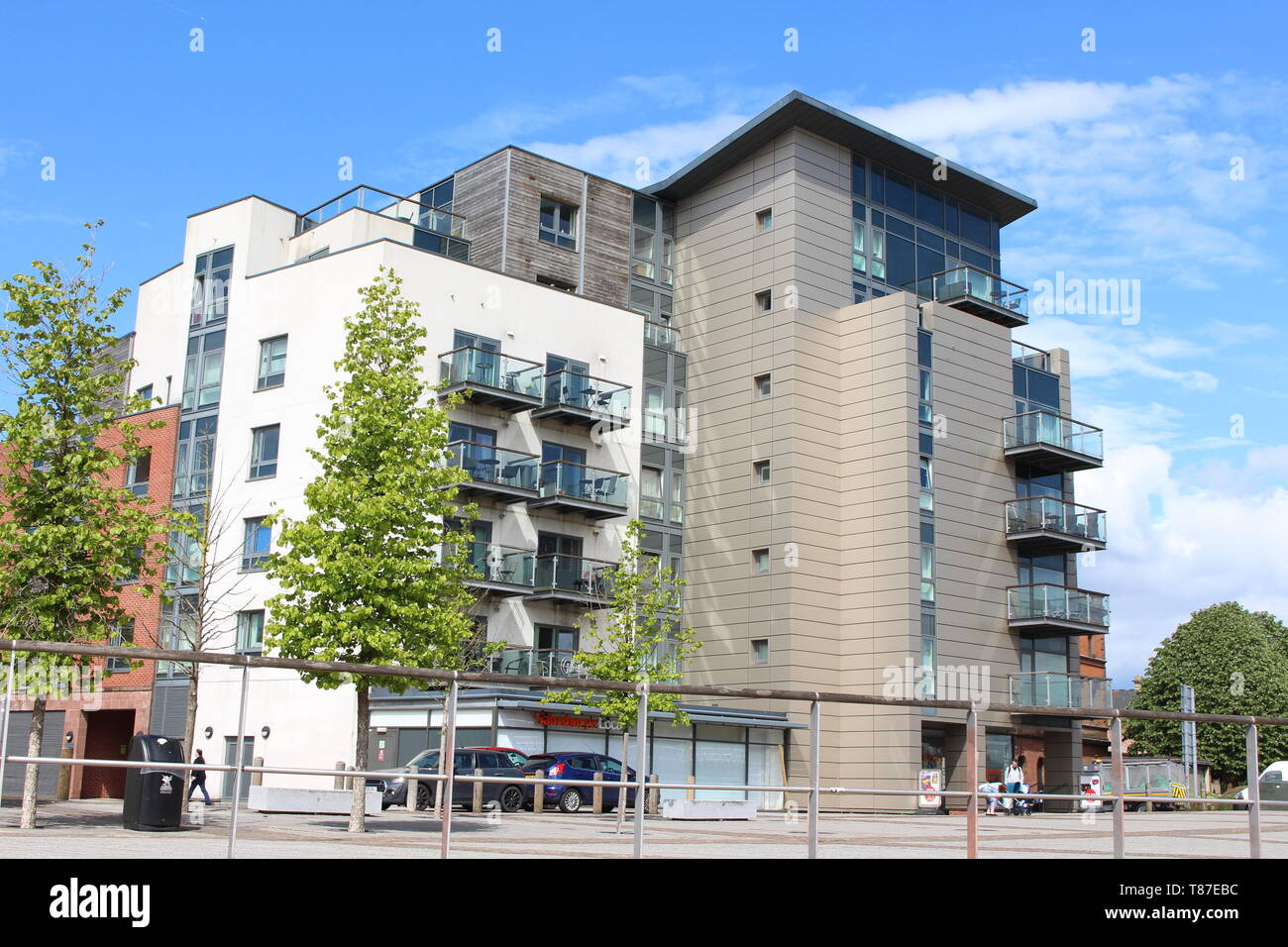 10 May 2019: Cardiff Bay, Cardiff UK:  A block of flats in Cardiff Bay with cladding.  Urban living concept. Stock Photo