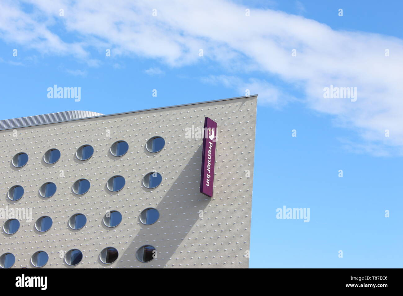 10 May 2019: Cardiff Bay, Cardiff UK:  A newly built Premier Inn opening soon in Cardiff Bay. Stock Photo