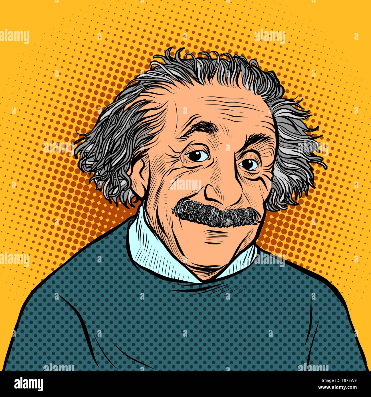 Moscow, Russia - April 11, 2019. Albert Einstein, scientist, physicist hand-drawn portrait Science and education - Stock Image