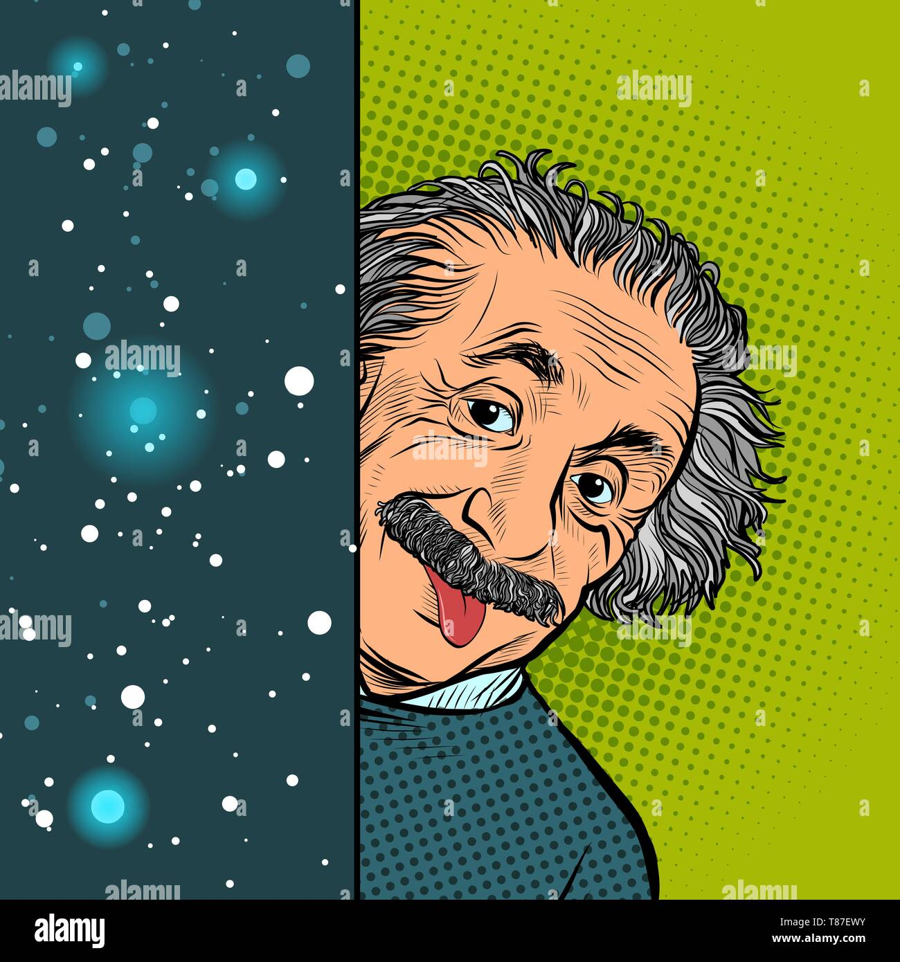 Moscow, Russia - April 11, 2019. Albert Einstein, scientist, physicist, hand-drawn portrait. Science and education. The author of the theory of relati - Stock Image