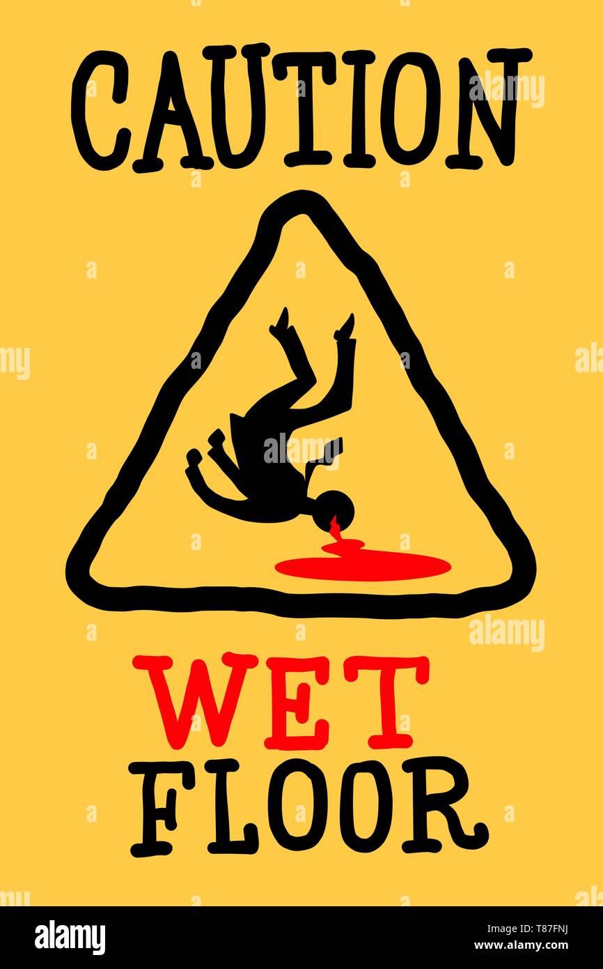 caution wet floor. Comic cartoon pop art retro drawing illustration - Stock Image