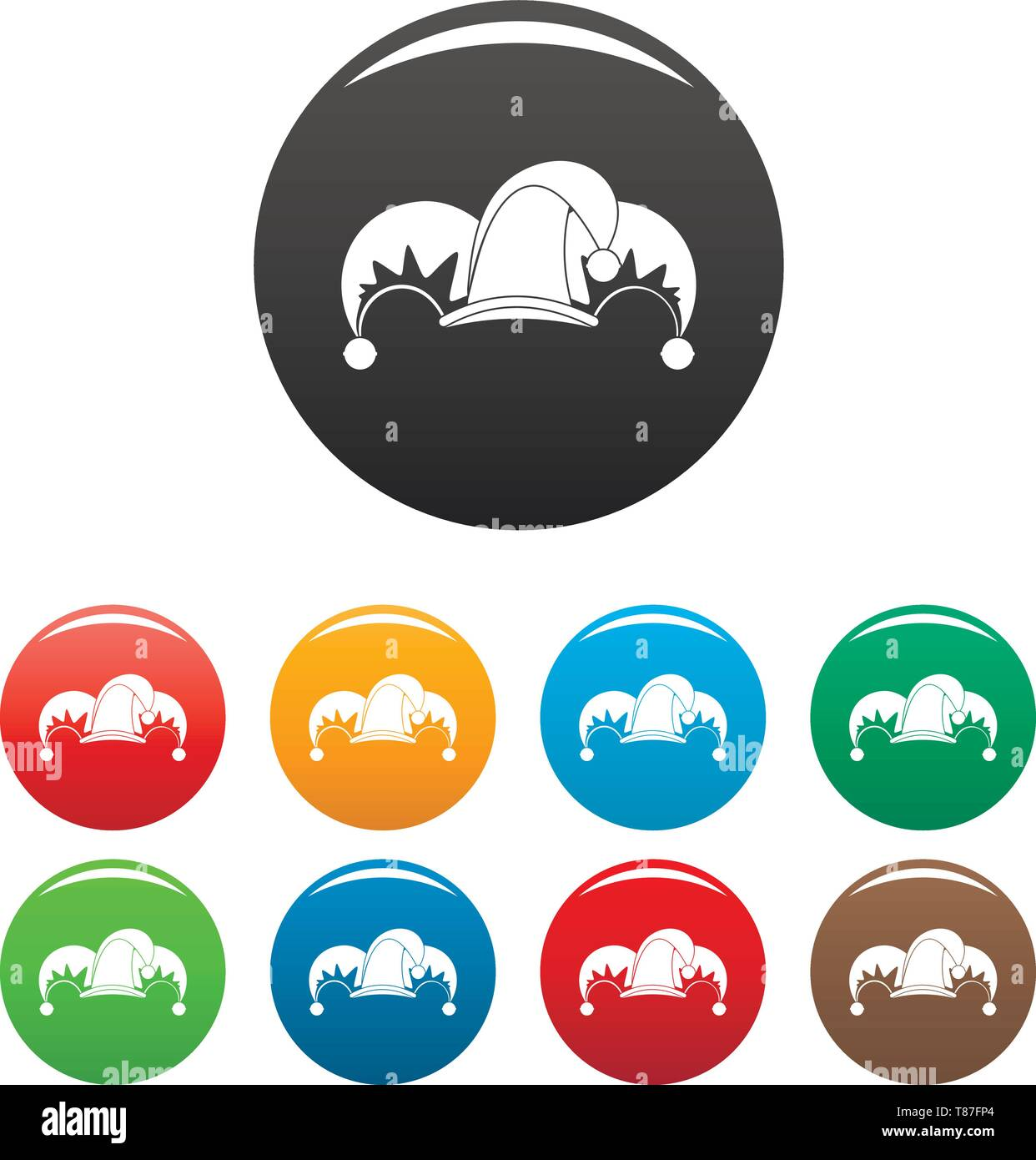 Clown job jester icons set 9 color vector isolated on white for any design - Stock Image