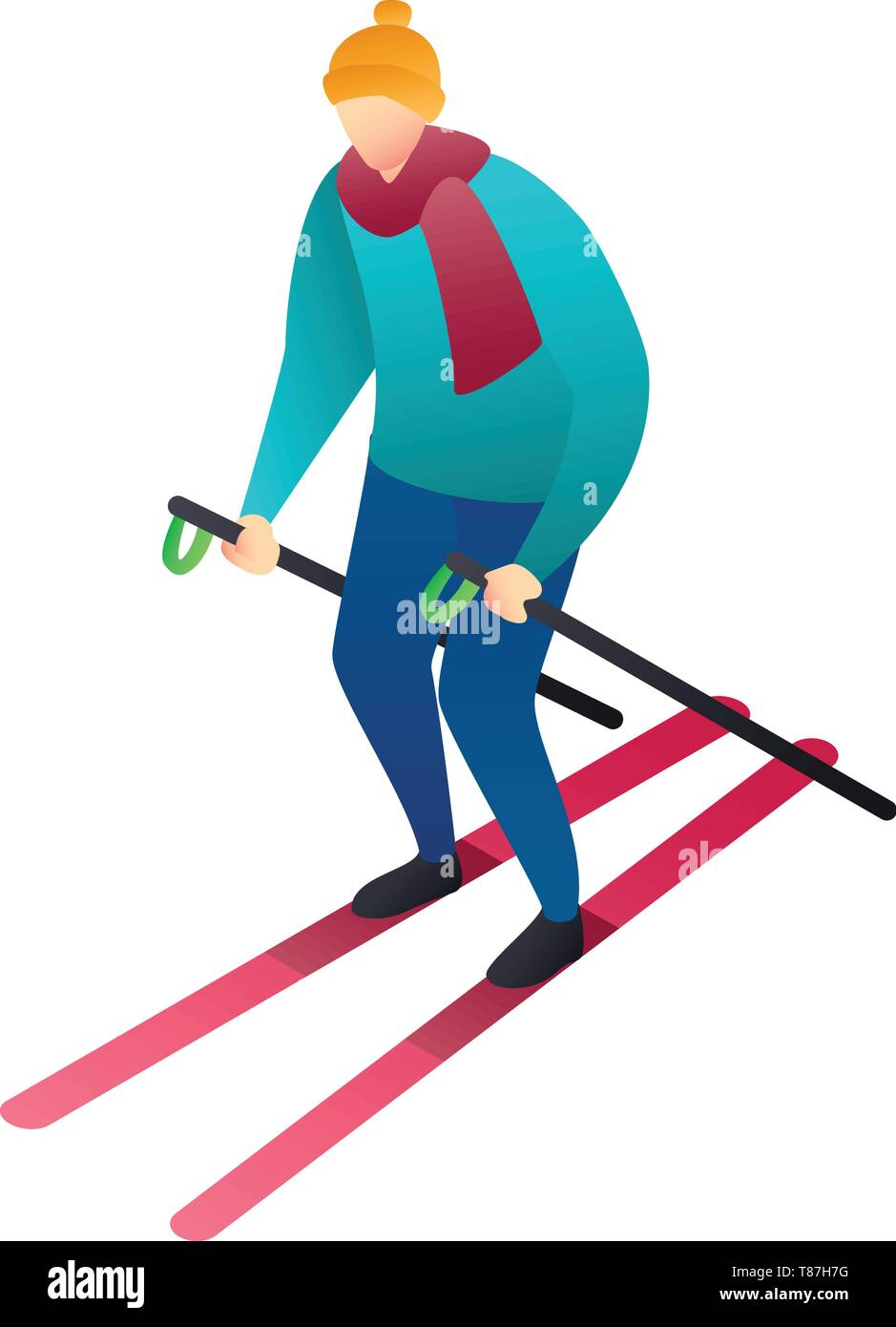 Man skiing icon. Isometric of man skiing vector icon for web design isolated on white background Stock Vector
