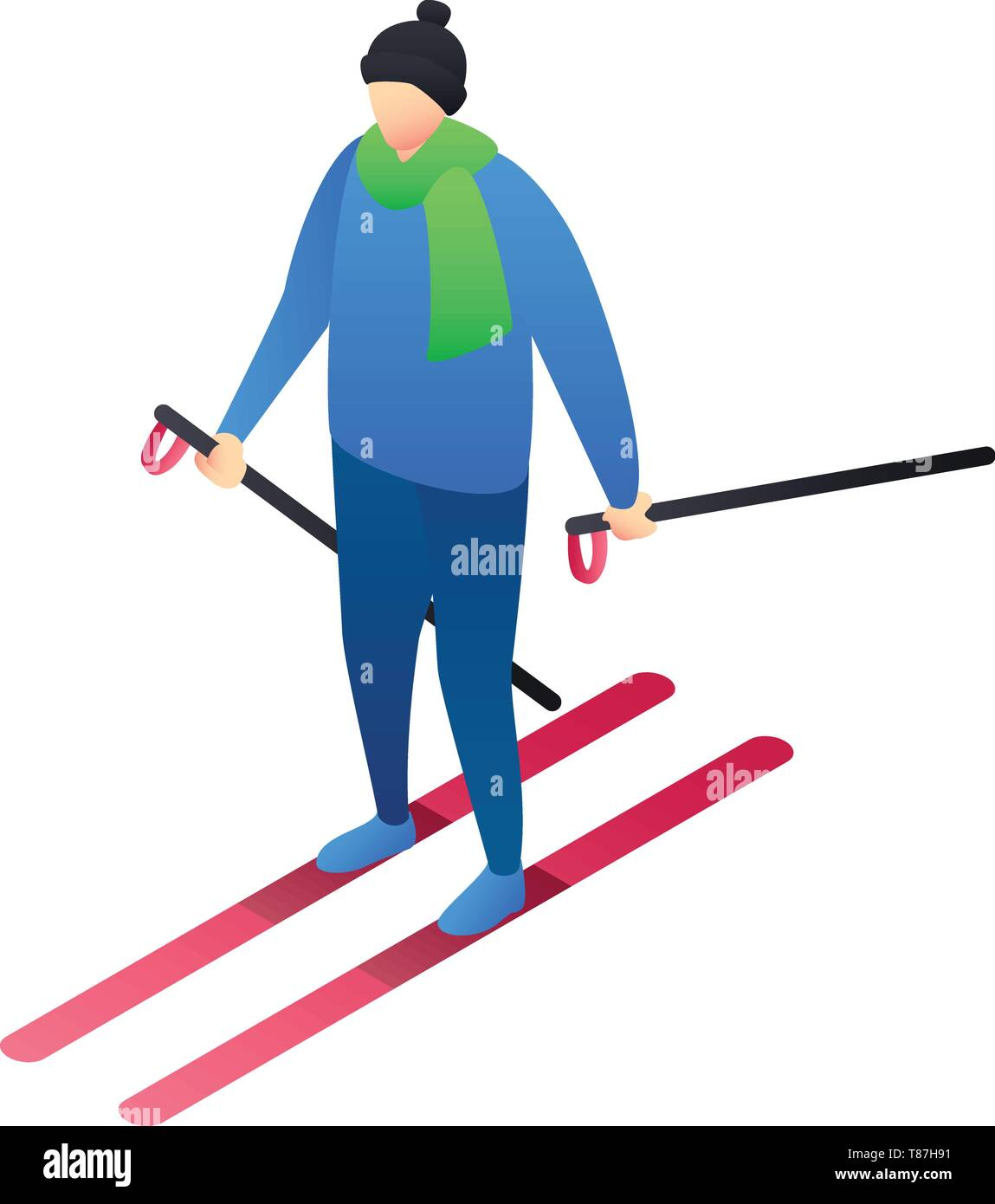 Boy skiing icon. Isometric of boy skiing vector icon for web design isolated on white background - Stock Image