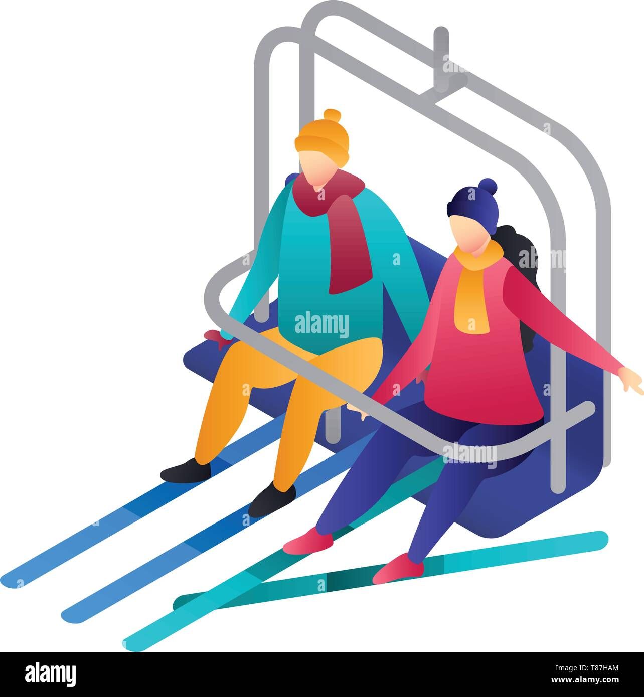 Couple in a cable car icon. Isometric of couple in a cable car vector icon for web design isolated on white background Stock Vector