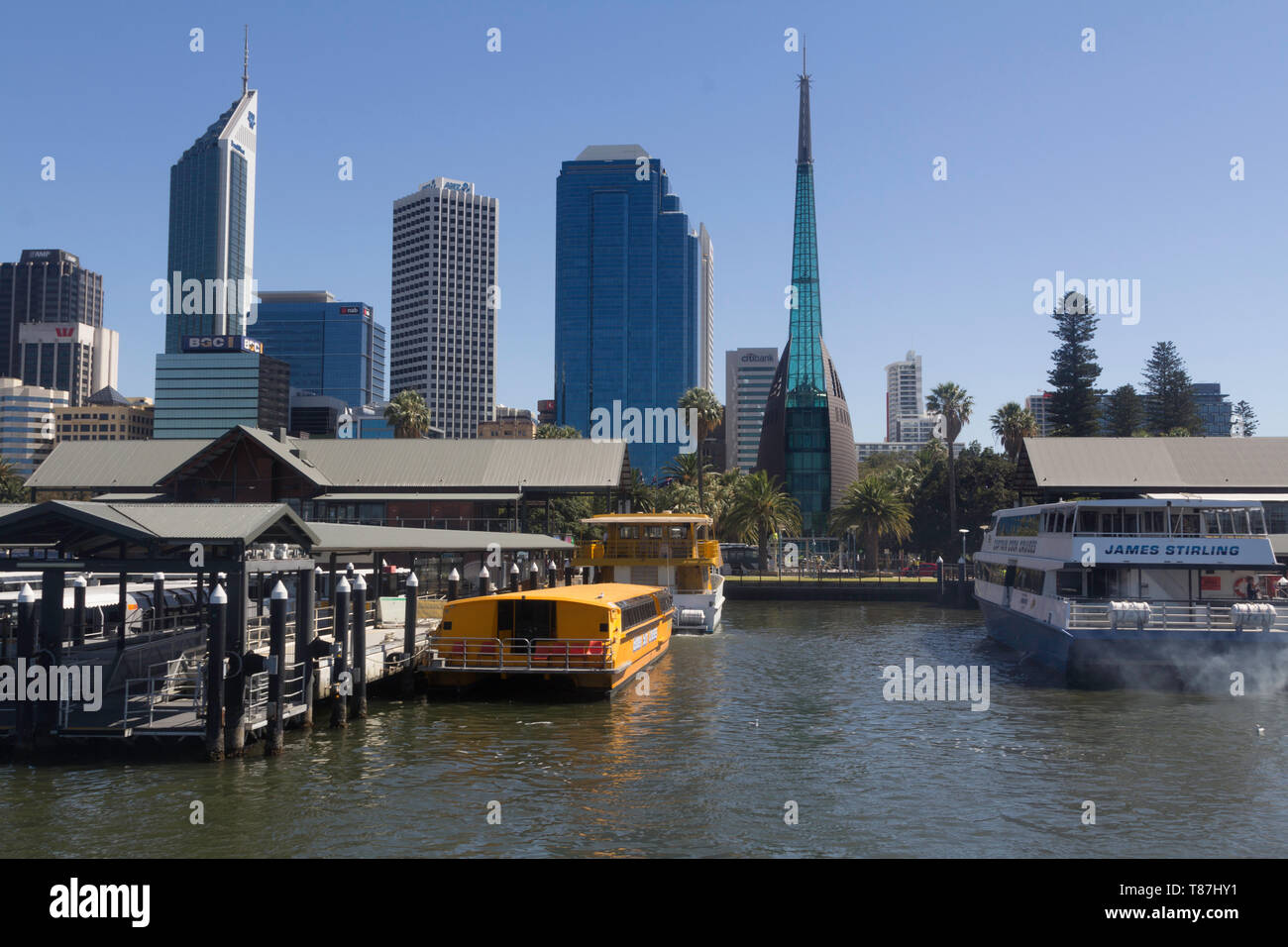 Perth, Western Australia, Australia - 21/01//2013 : View of the financial area, offices and commercial buildings and skyscrapers of the city of Perth - Stock Image