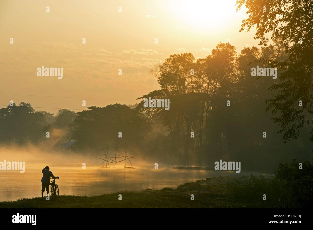 India, Assam, Majuli island in the middle of the Brahmapoutre river, fishing nets - Stock Image