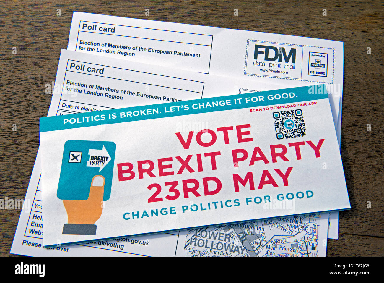 EU Election Brexit Party Leaflet and poll cards for the London Region of the European Parliament 2019. Islington North - Stock Image