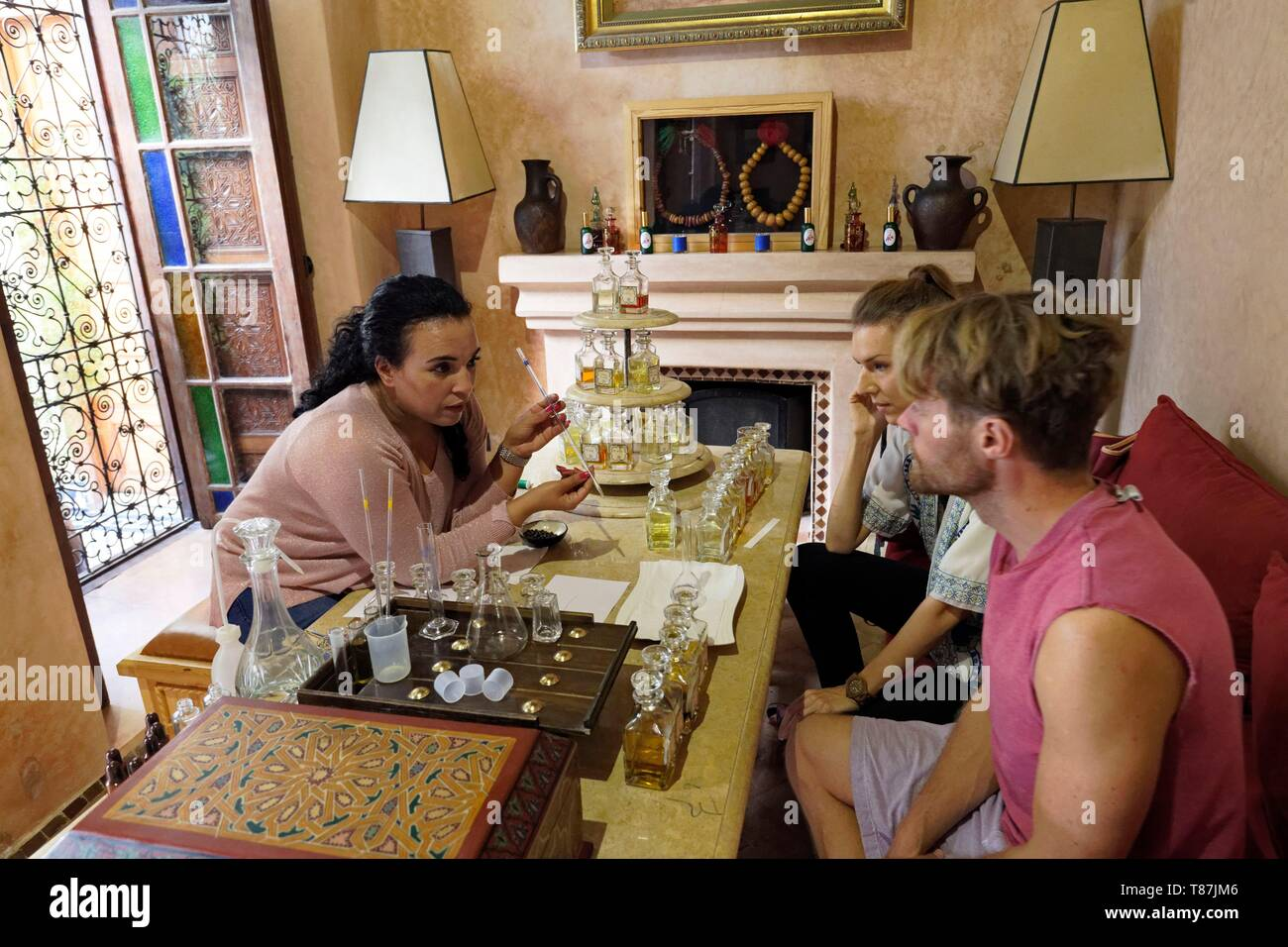Morocco, High Atlas, Marrakesh, Imperial City, medina listed as World Heritage by UNESCO, Parfume museum, Workshop where we can create his its own perfume - Stock Image