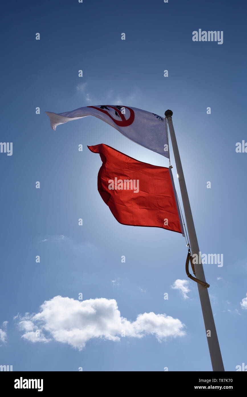 No dogs flag and no bathing flag fluttering in the wind on white flagpole in Cleveleys on the fylde coast in lancashire uki - Stock Image