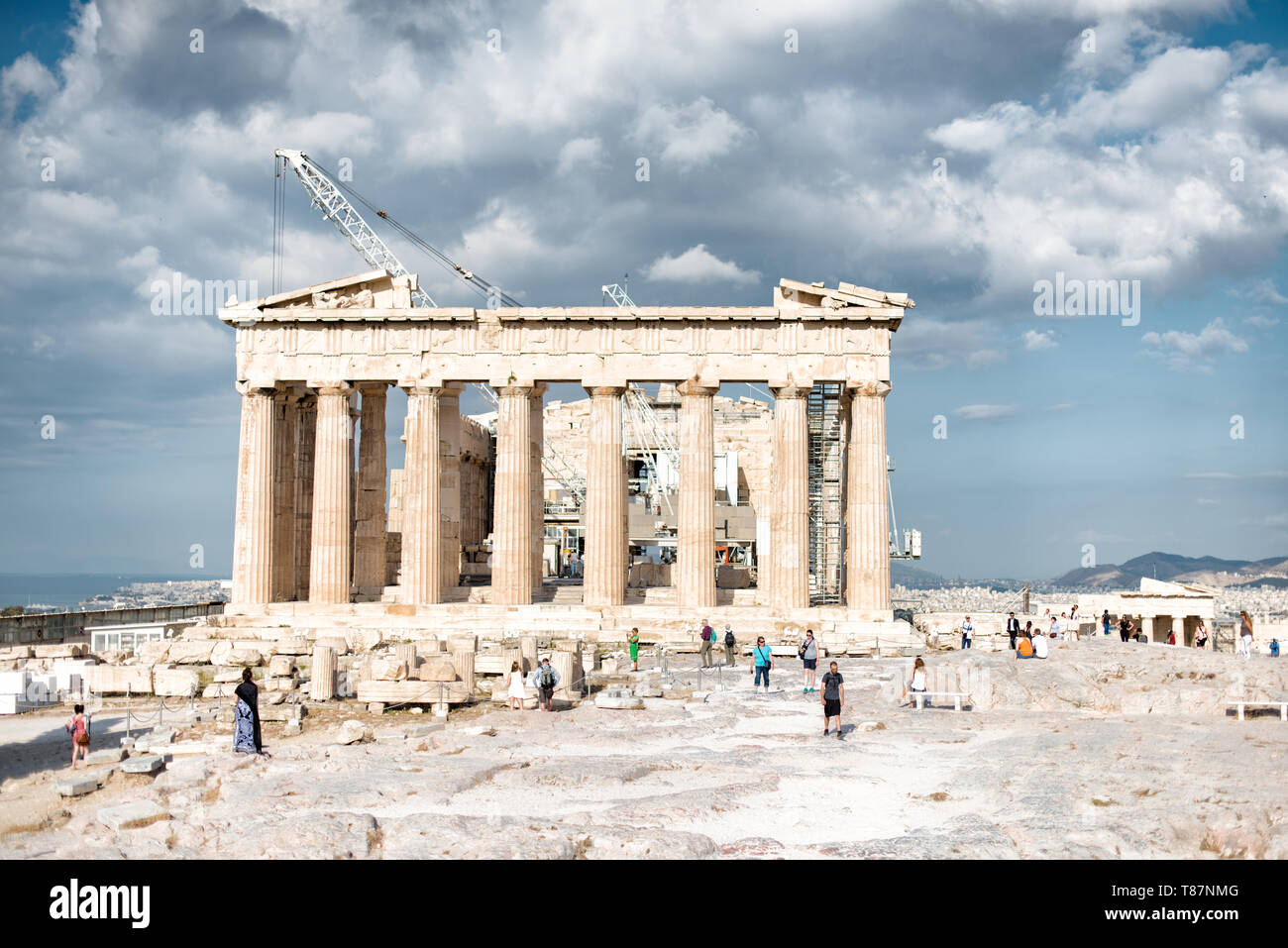The Acropolis of Athens is an ancient citadel standing on a rocky outcrop above Athens, Greece. It is one of the most famous archeological sites in th Stock Photo