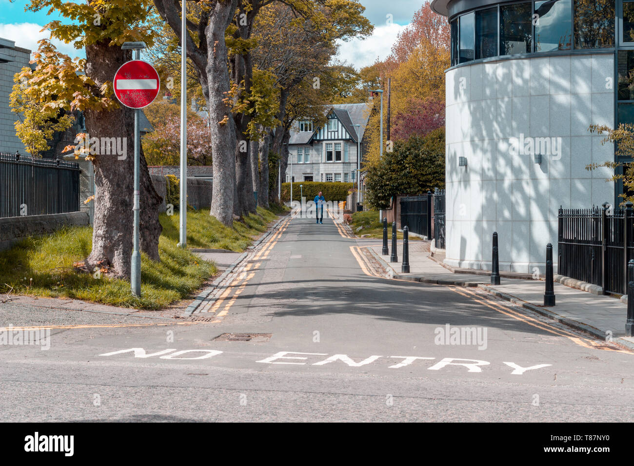 Street with 'no entry' marking leading to a house, Aberdeen, Scotland - Stock Image