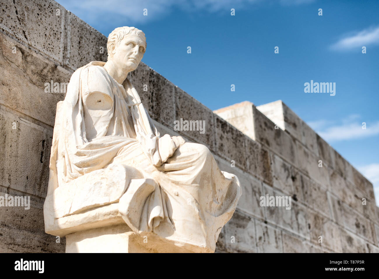Honorary monuments of dramatic poets at the eastern parados at the Acropolis. The Acropolis of Athens is an ancient citadel standing on a rocky outcro - Stock Image