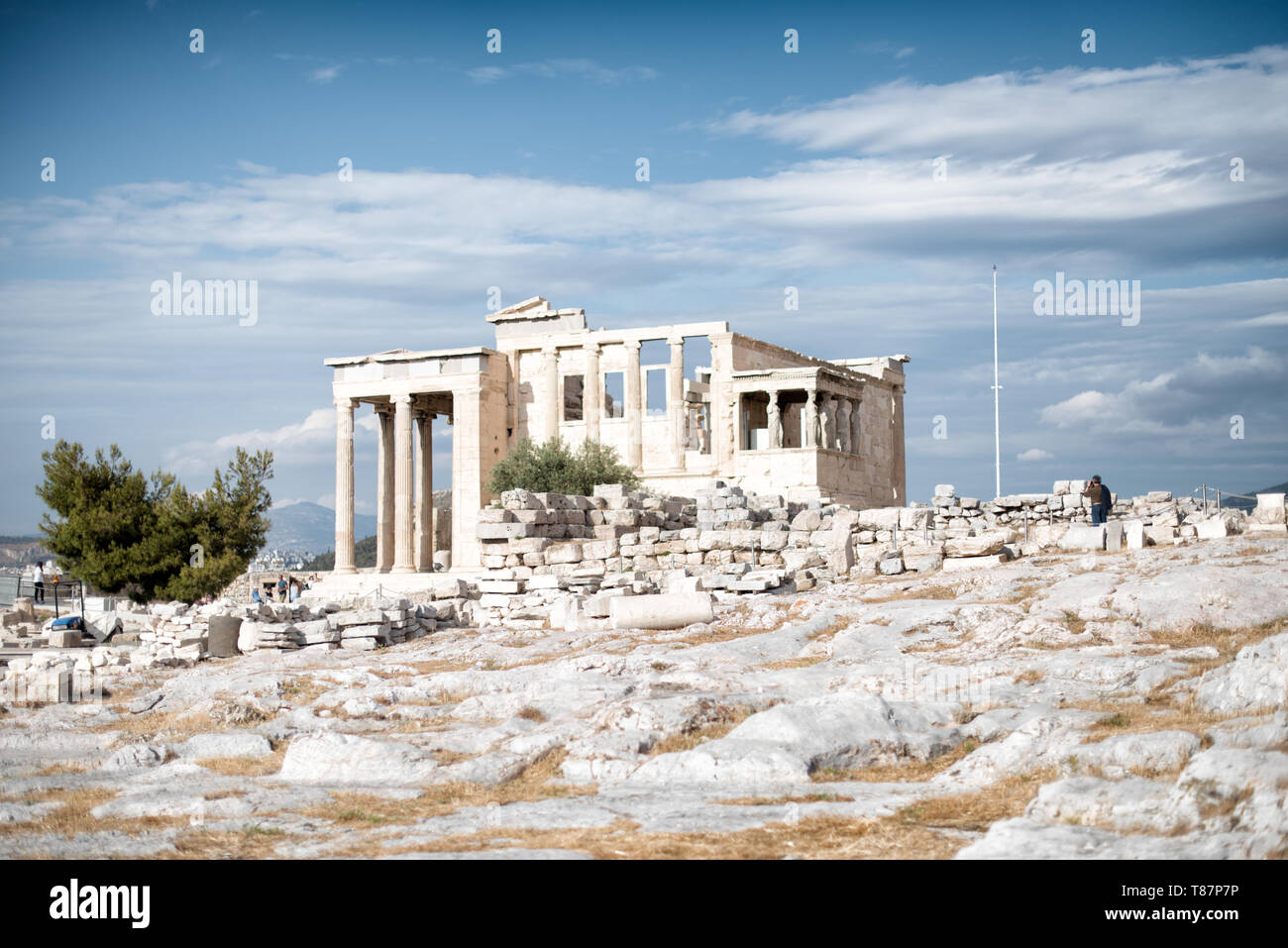 The Acropolis of Athens is an ancient citadel standing on a rocky outcrop above Athens, Greece. It is one of the most famous archeological sites in th - Stock Image