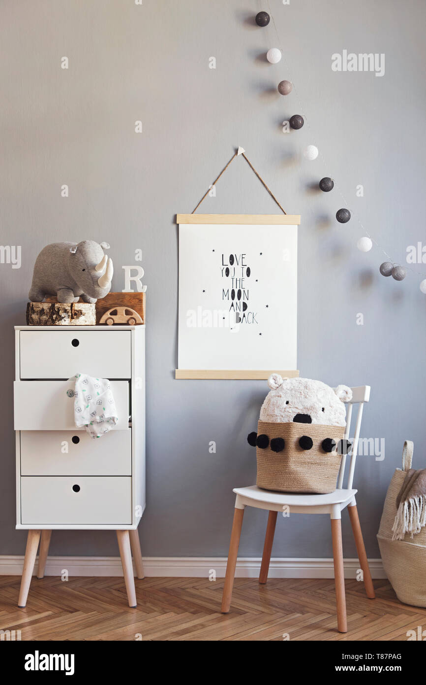 Stylish And Modern Scandinavian Nursery Interior With Gray Walls Brown Wooden Parquet And Design Furnitures And Accessories Cozy Childroom Stock Photo Alamy