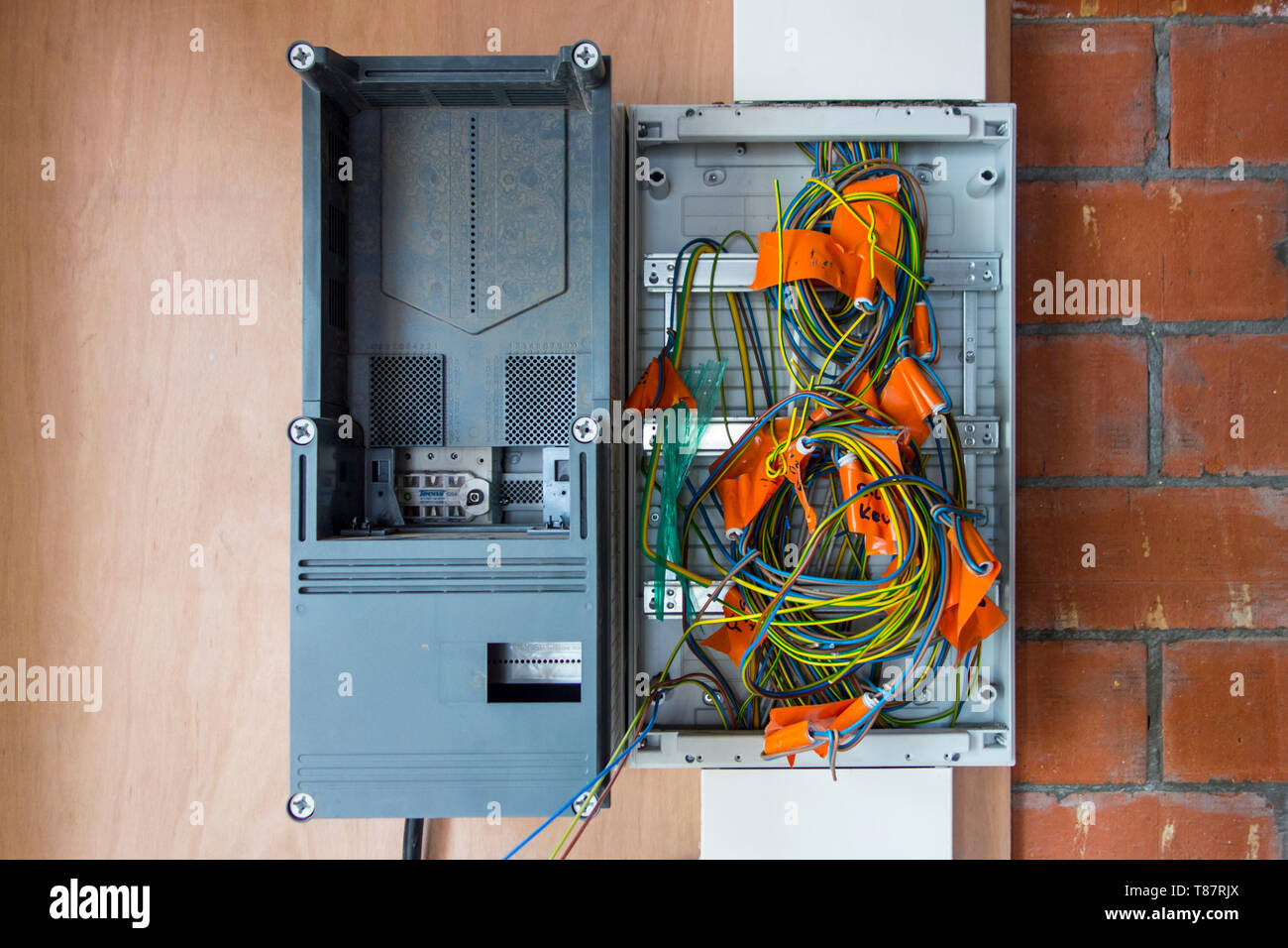 electric wires / electrical cables / wiring in new fuse box in newly built  house under