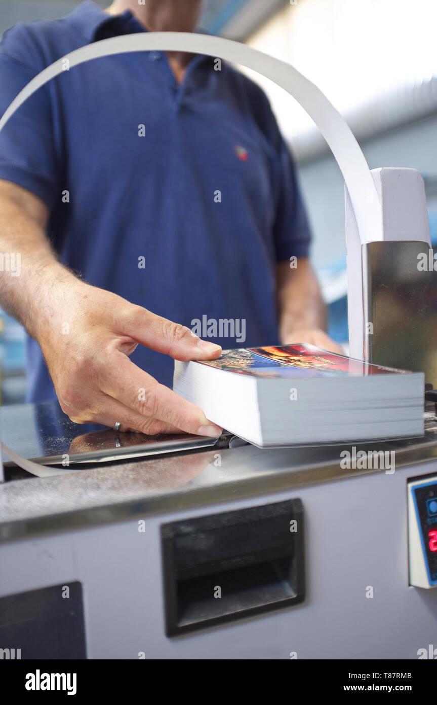 post press finishing line banding system - Stock Image