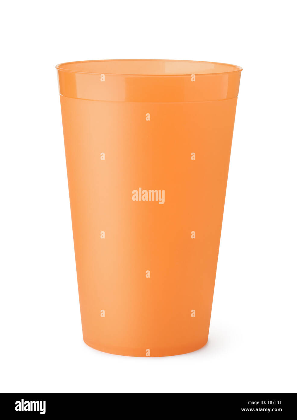 Front view of orange plastic cup isolated on white - Stock Image