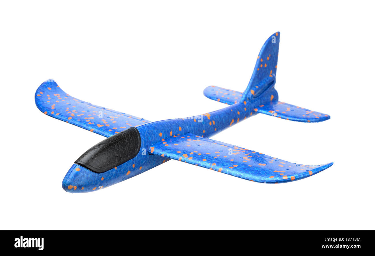 Blue foam glider plane isolated on white - Stock Image