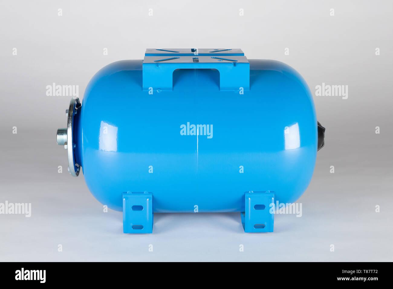Blue horizontal pressure tank. - Stock Image