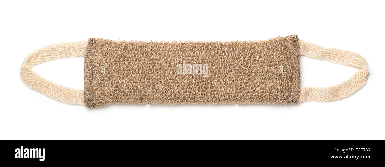 Top view of notural bath belt scrubber isolated on white - Stock Image