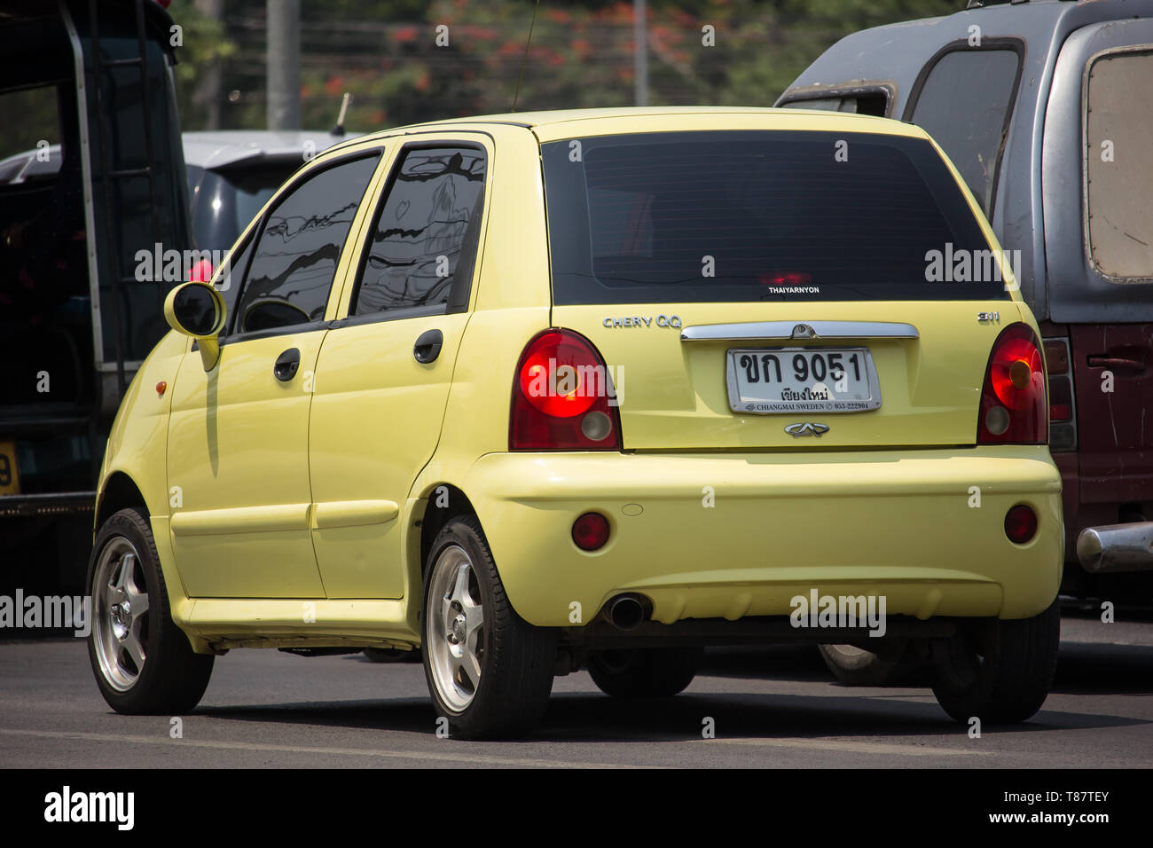 Chiangmai Thailand April 30 2019 Private Car Chery Qq On Road No 1001 8 Km From Chiangmai City Stock Photo Alamy