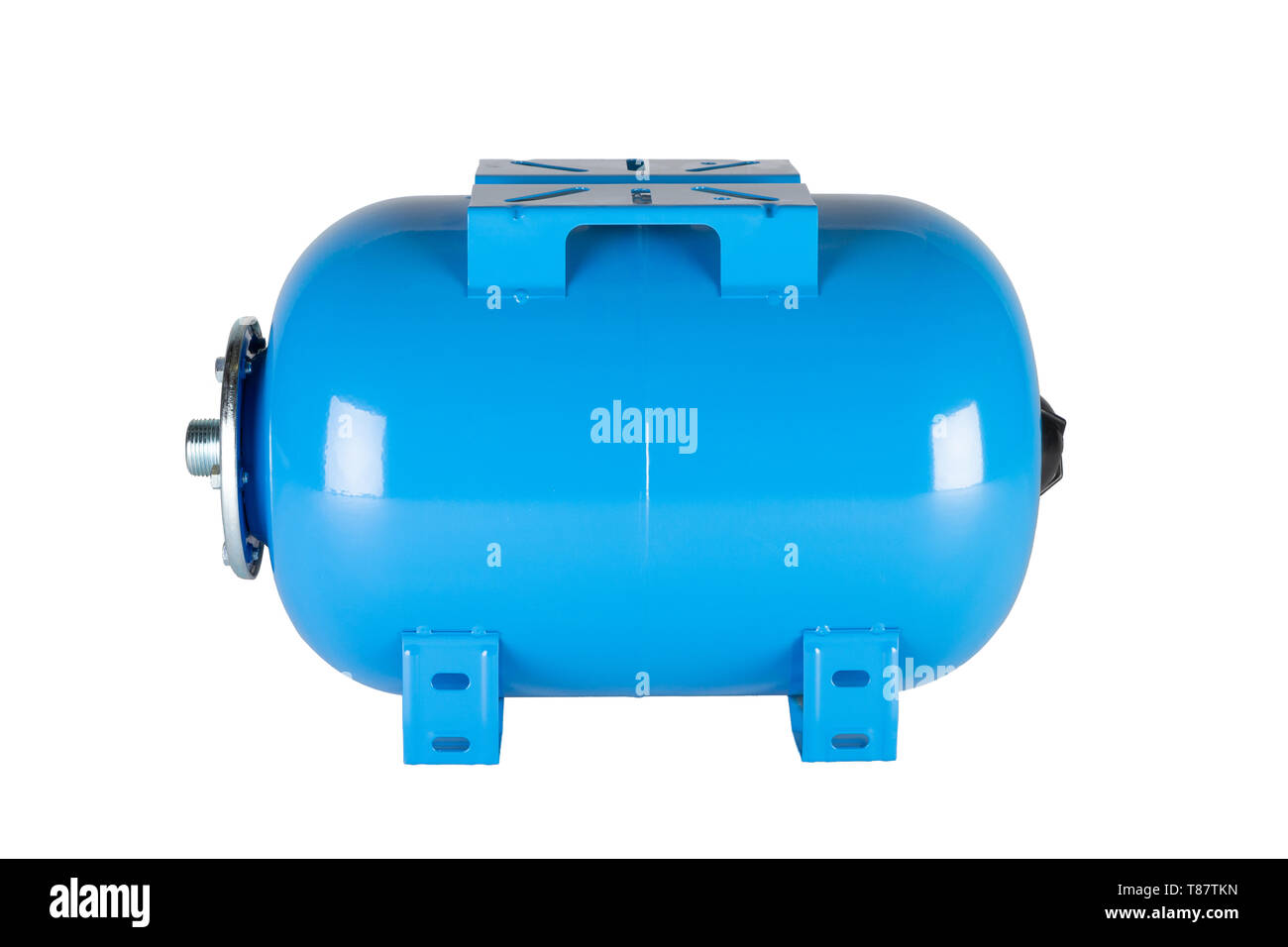Blue horizontal pressure tank isolated on a white background. - Stock Image