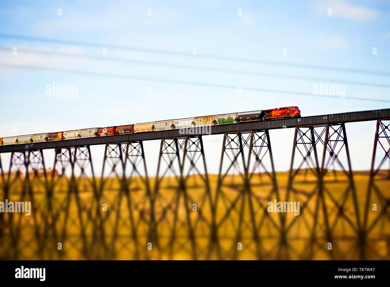 April 7 2019 - Lethbridge , Alberta Canada - Canadian Pacific Railway train crossing the High Level Bridge Stock Photo