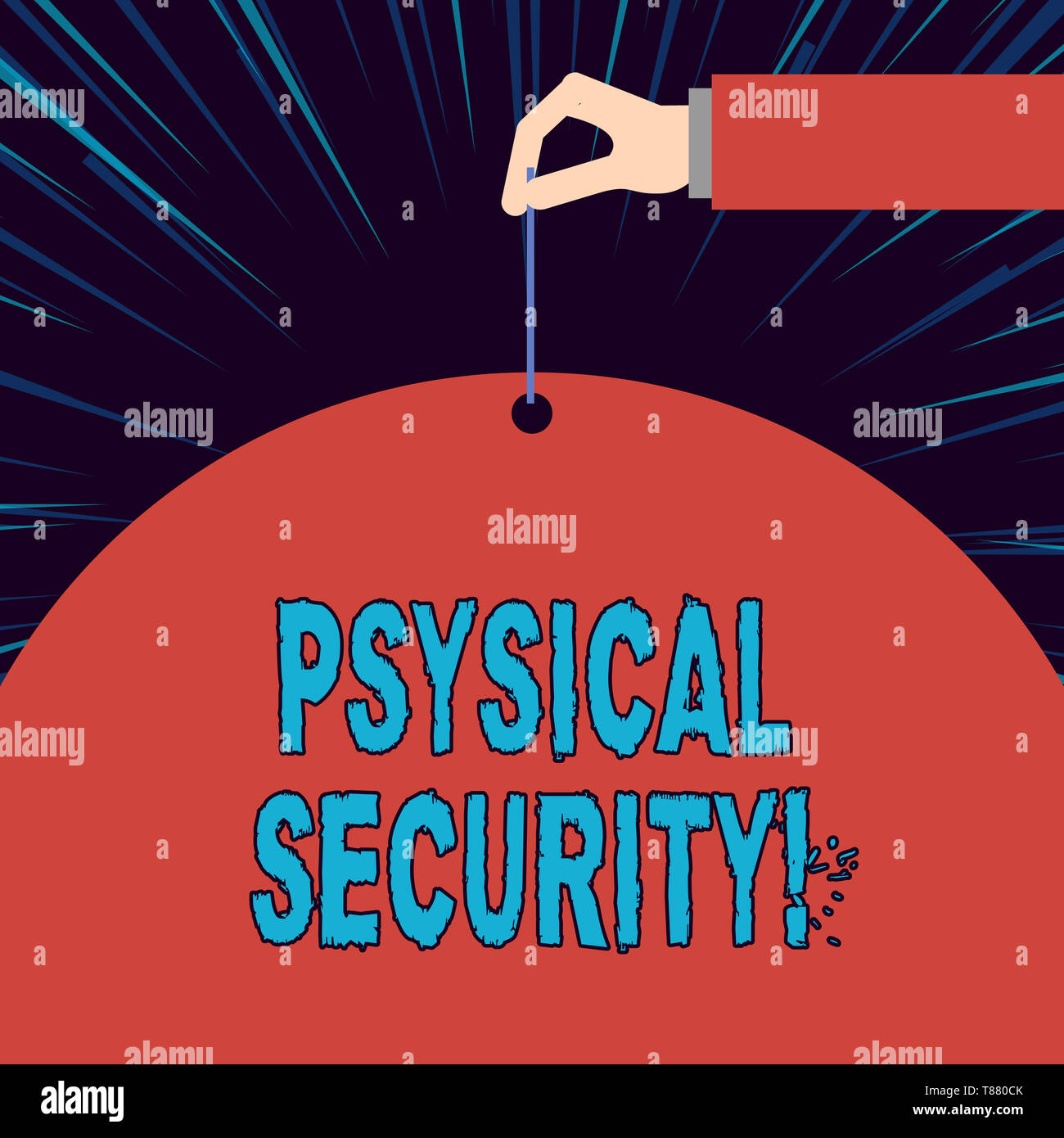 Text sign showing Physical Security. Business photo showcasing designed to deny unauthorized access to facilities - Stock Image
