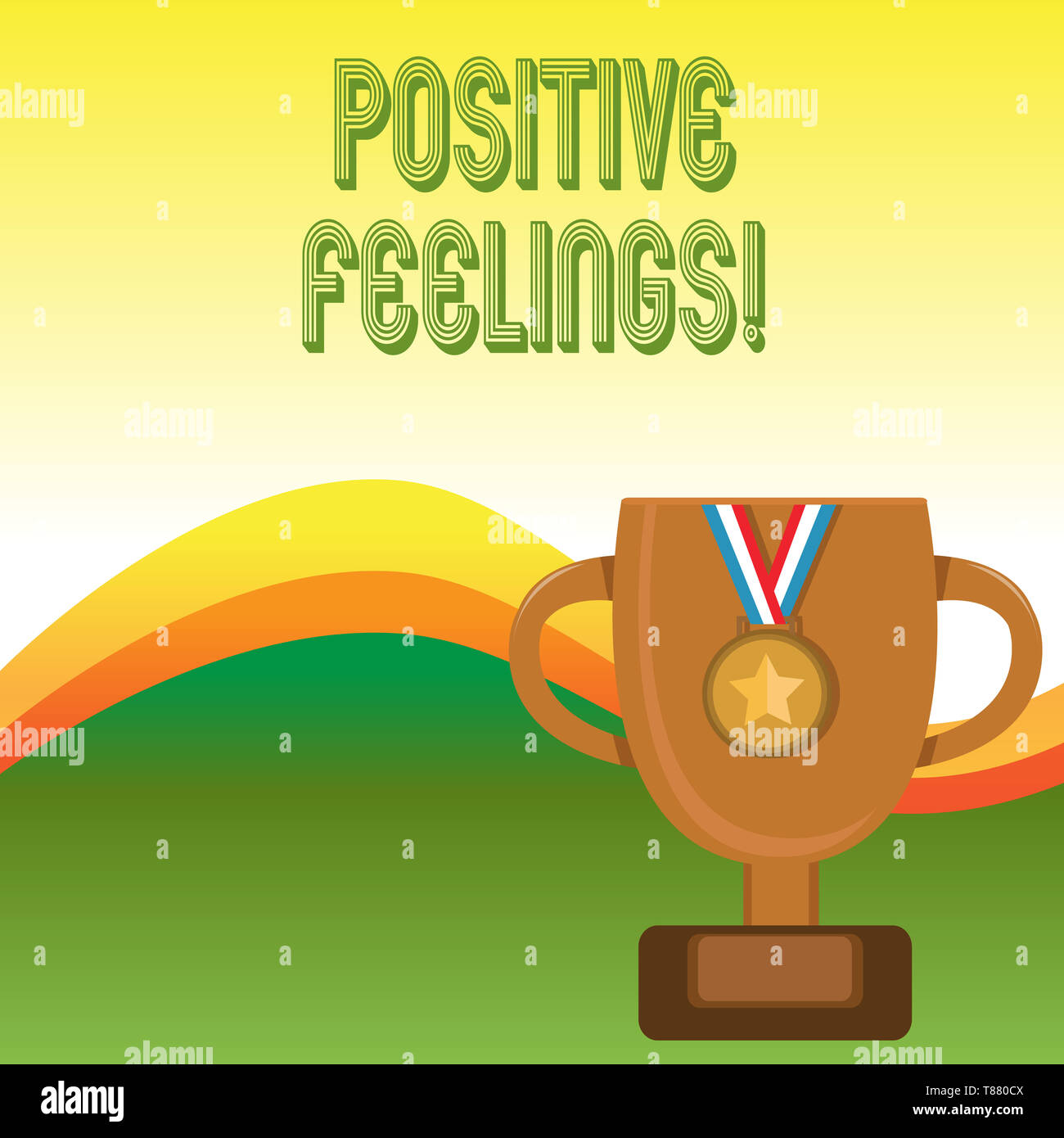 Text sign showing Positive Feelings. Business photo showcasing any feeling where there is a lack of negativity or sadness - Stock Image