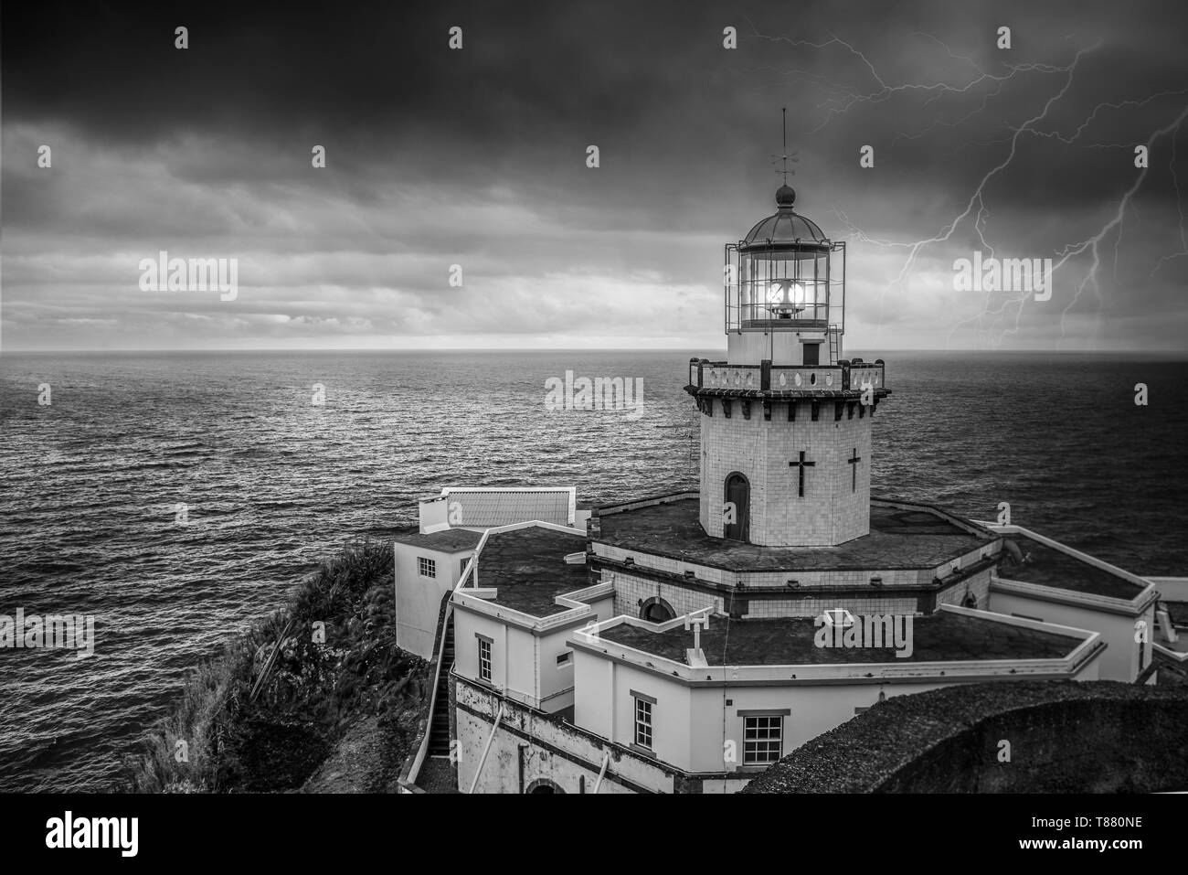 lighthouse Azores - Stock Image