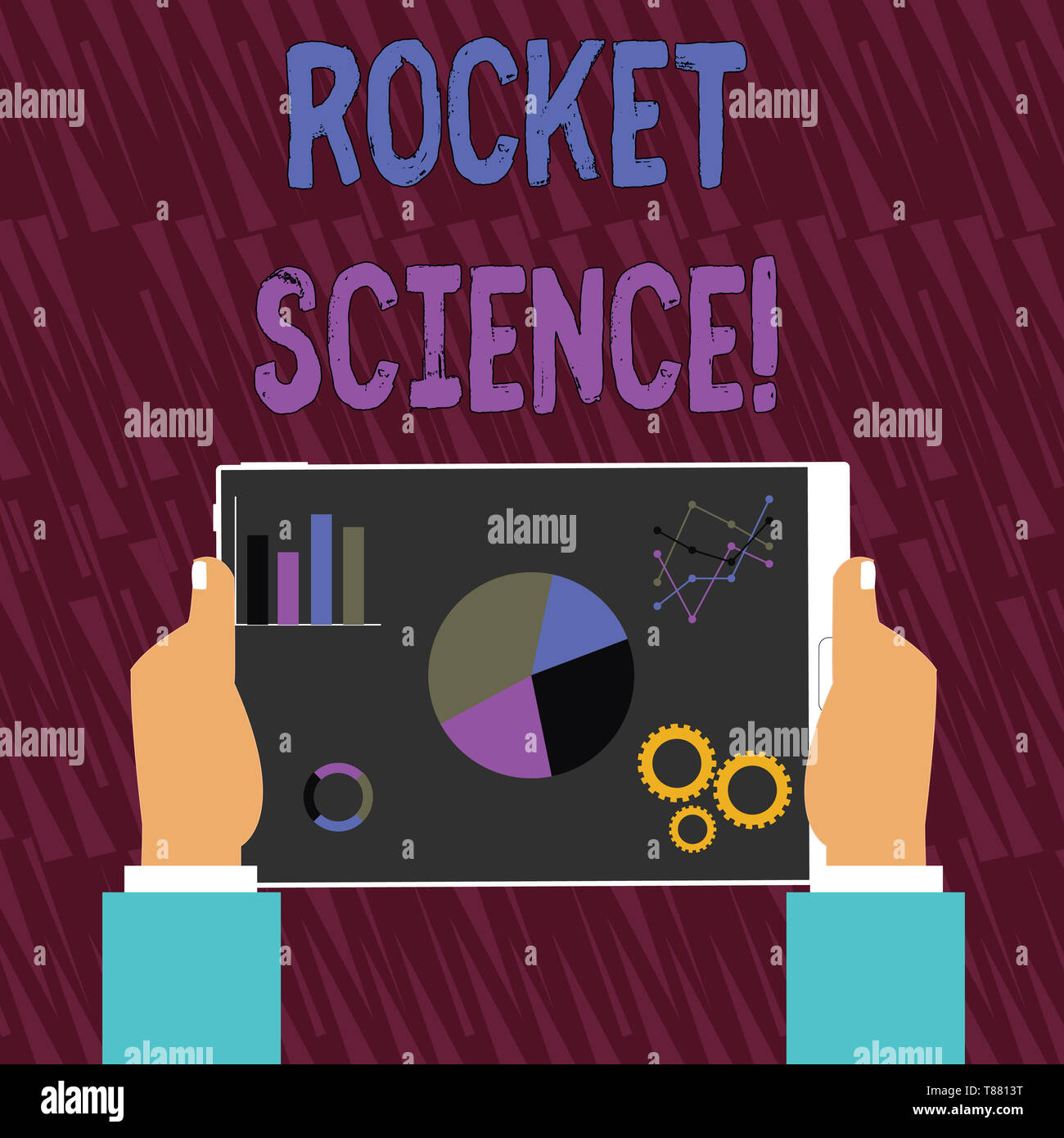 Text sign showing Rocket Science. Business photo text difficult activity that you need to be intelligent to do Hands Holding Tablet with Search Engine - Stock Image